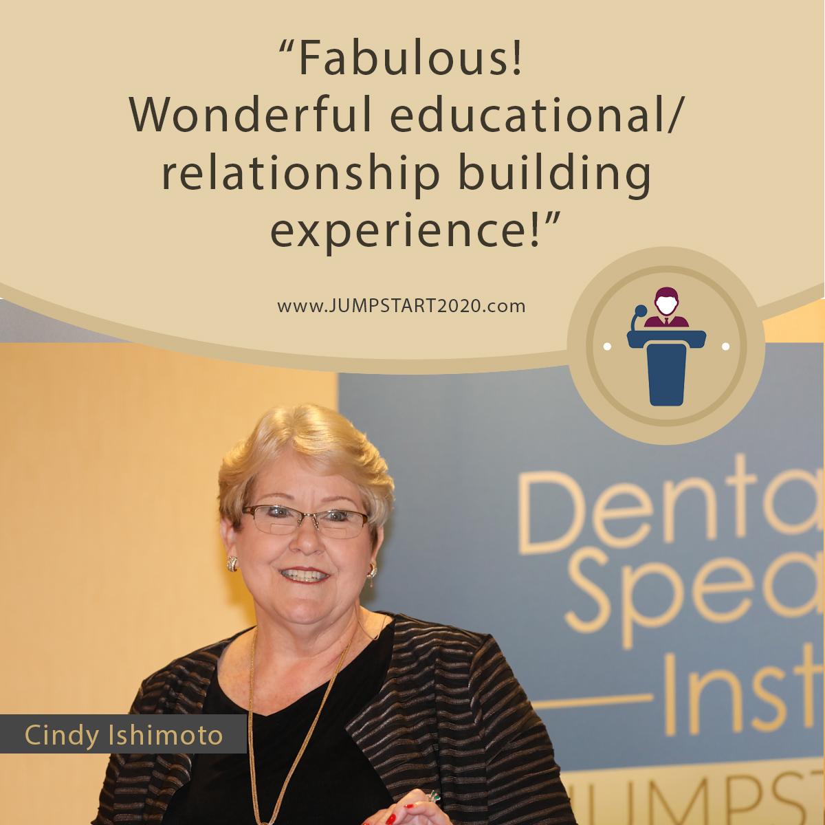 Cindy Ishimoto's review on Jumpstart Dental Meeting